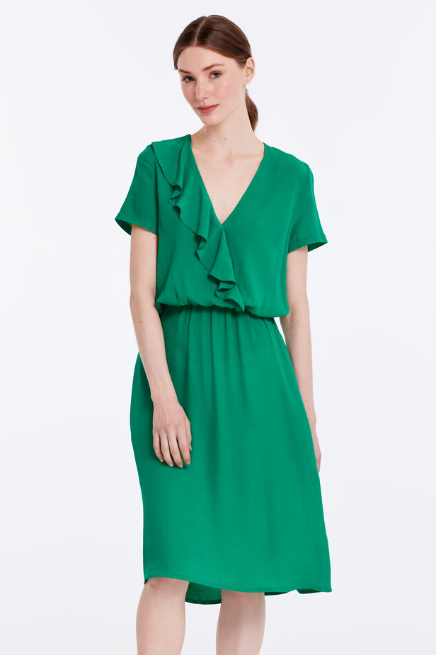 Green dress with ruffles photo 1 - MustHave online store