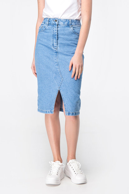 Denim skirt with front cut