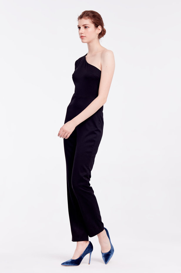 One shoulder black jumpsuit photo 3 - MustHave online store