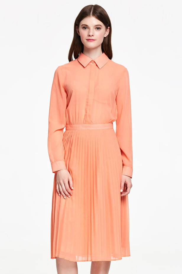 Below the knee orange shirt dress, pleated dress photo 1 - MustHave online store