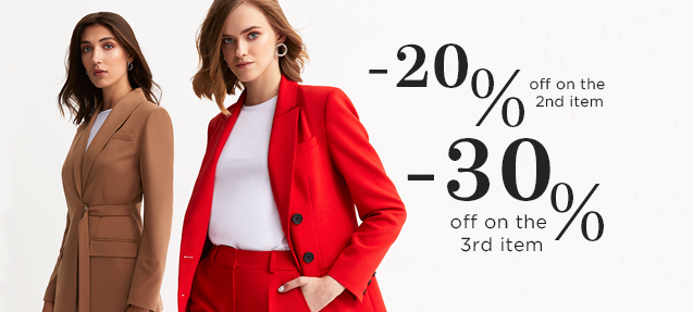 Second item -20%, third item -30% discount