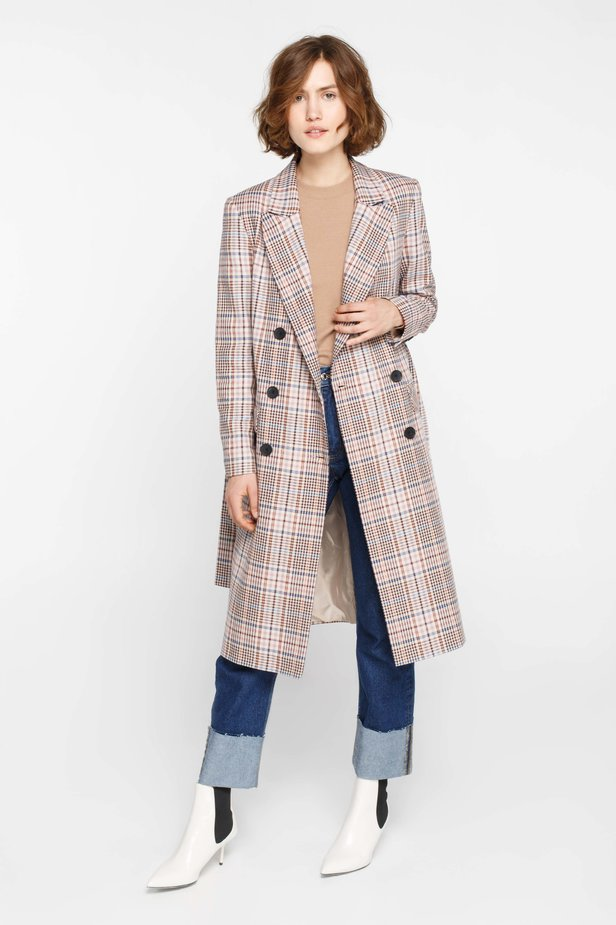 Beige plaid suit fabric trenchcoat photo 2 - MustHave online store