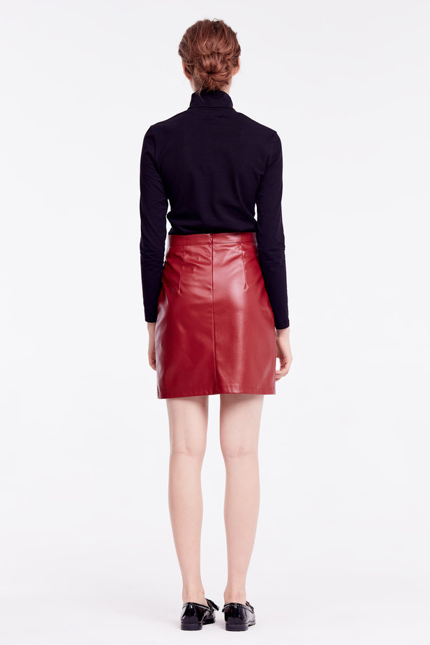 Short burgundy leather skirt photo 5 - MustHave online store