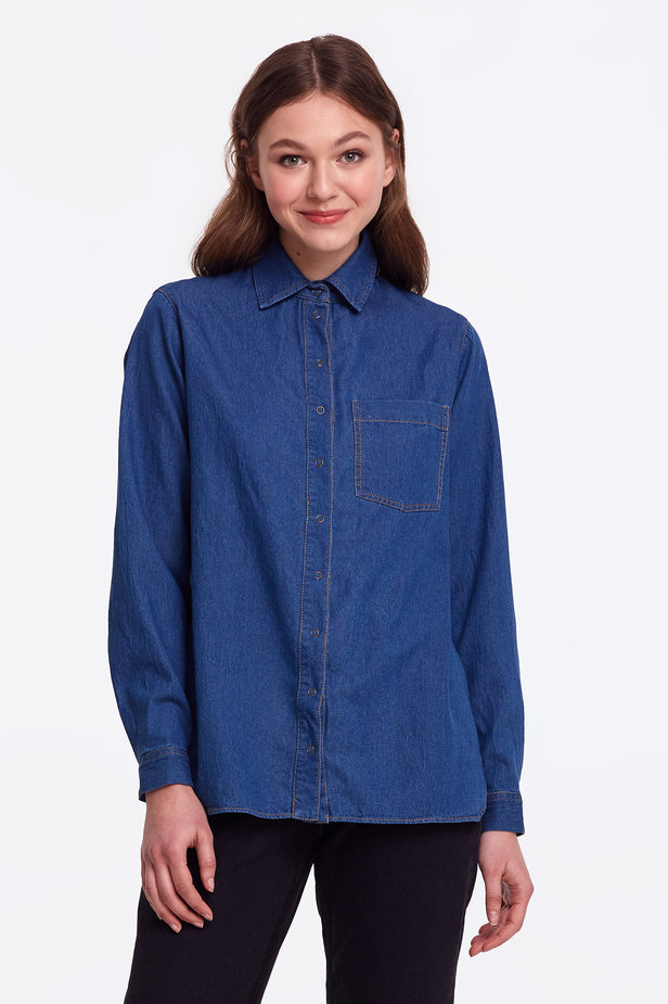 Light-blue denim shirt photo 1 - MustHave online store