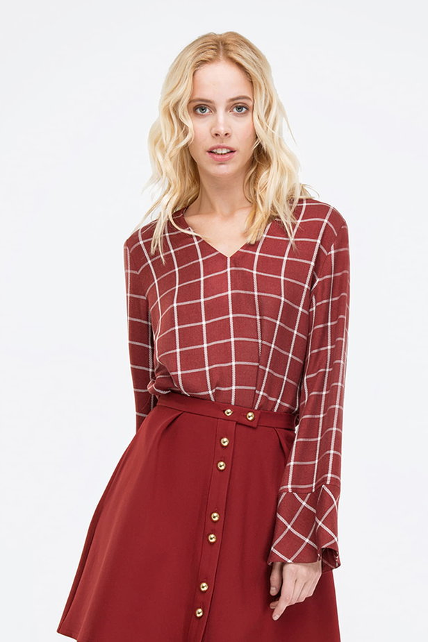 Checked burgundy shirt photo 1 - MustHave online store