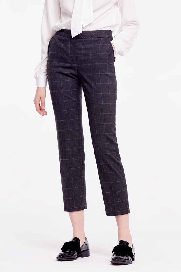 Cropped grey checkered pants photo 1 - MustHave online store