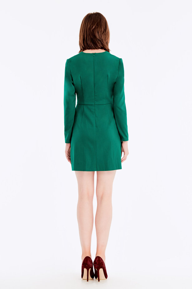 Wrap V-neck MustHave green dress photo 6 - MustHave online store