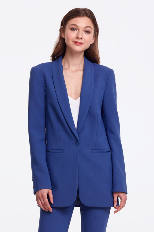 Blue jacket with a button