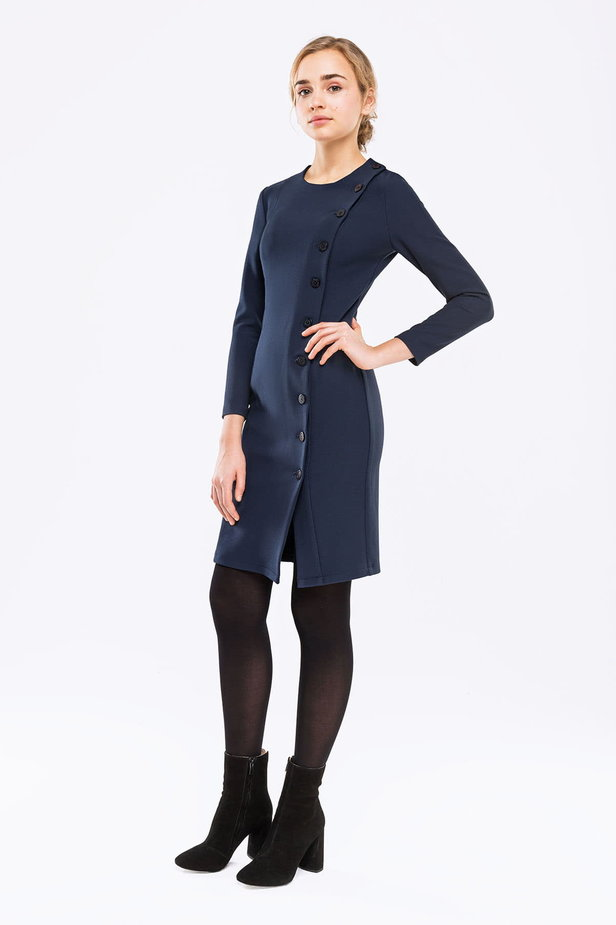 Dark blue dress with buttons photo 3 - MustHave online store