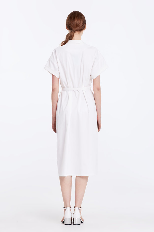 White dress with buttons and a belt photo 6 - MustHave online store