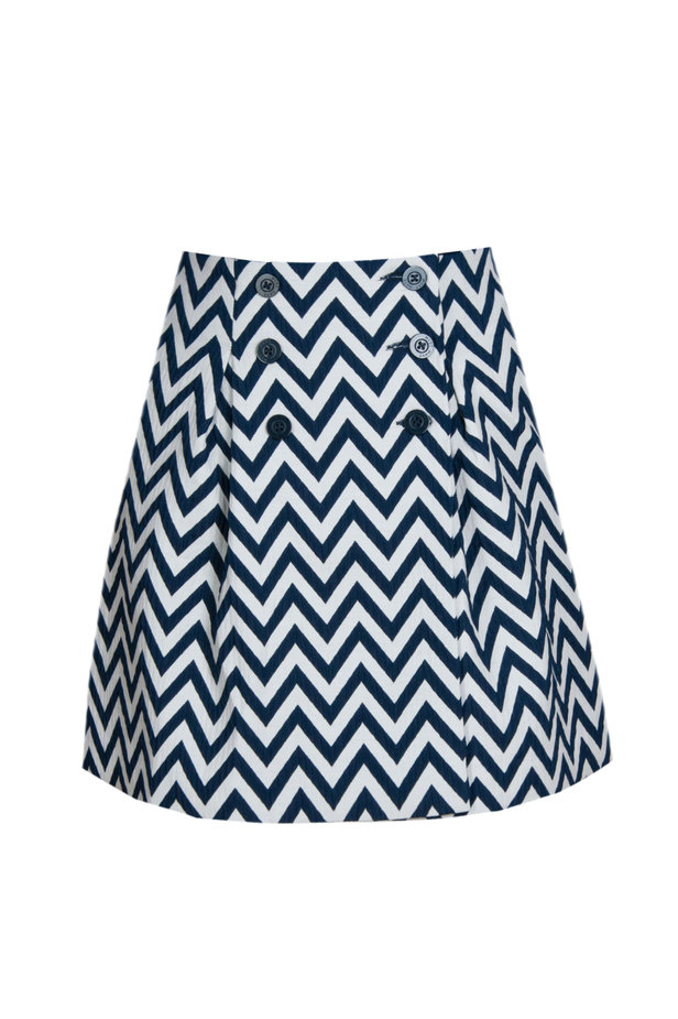 Skirt with white and blue zigzag and buttons photo 2 - MustHave online store
