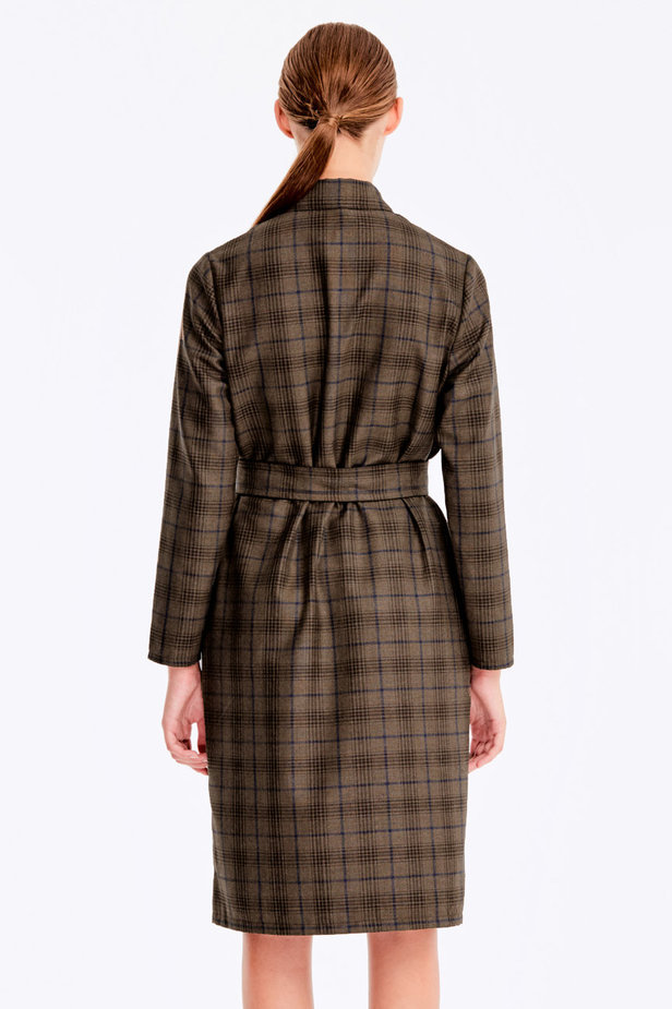 Brown dress with dark-blue check print photo 7 - MustHave online store
