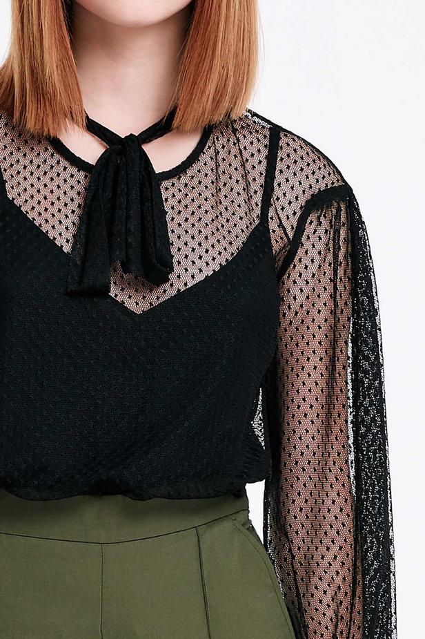 Black lace blouse with a bow photo 2 - MustHave online store