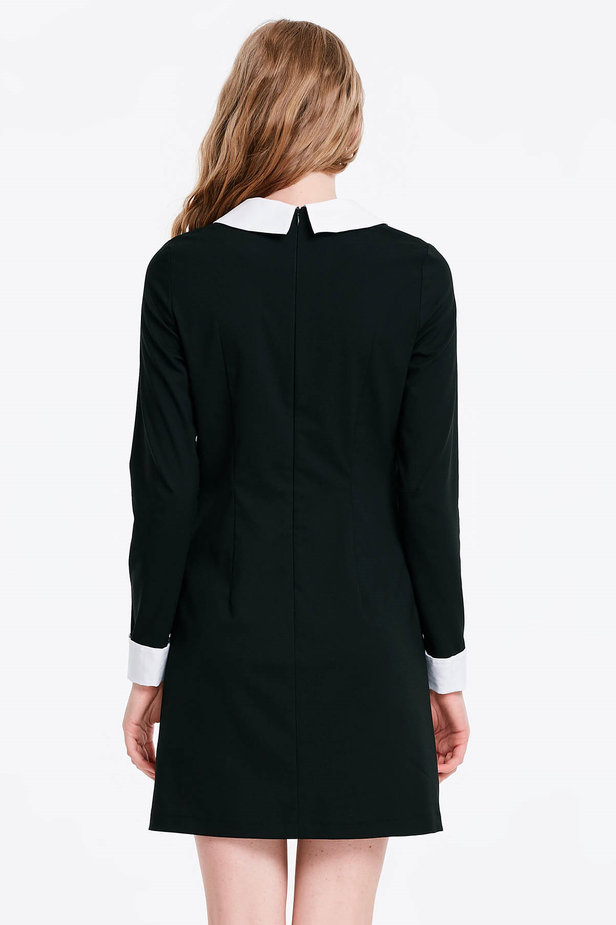 Black dress with a white collar photo 3 - MustHave online store