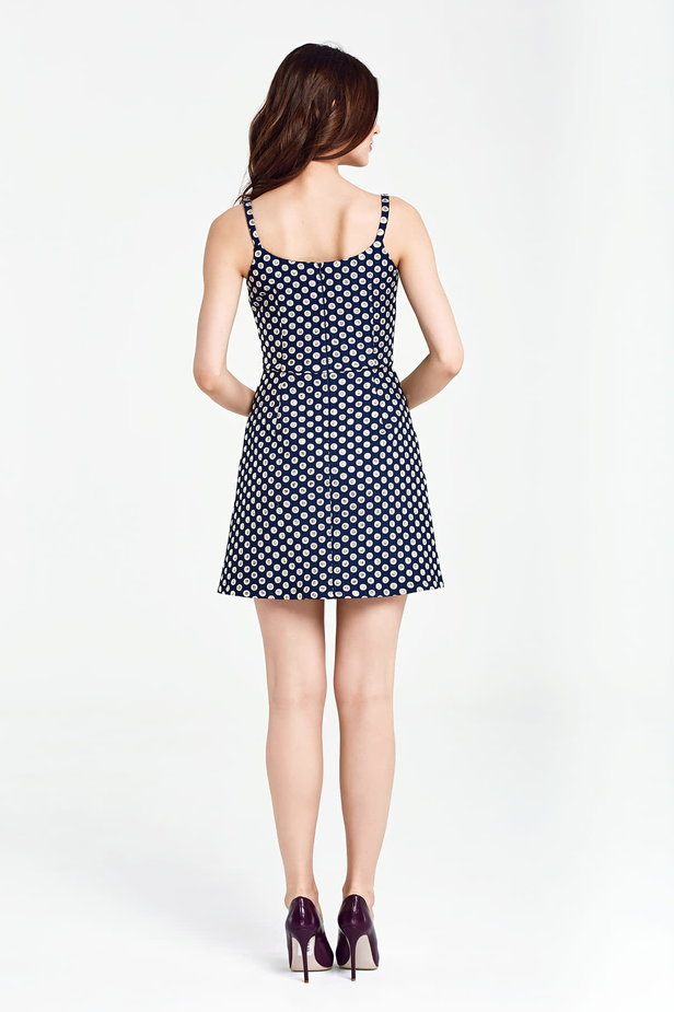 Dark blue sundress with a polka dot print and straps photo 5 - MustHave online store