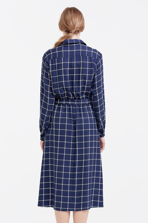 Midi checked blue dress with a belt photo 4 - MustHave online store