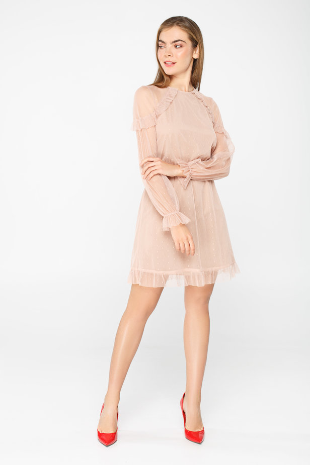 Pale pink tulle dress above the knee with ruffles photo 1 - MustHave online store