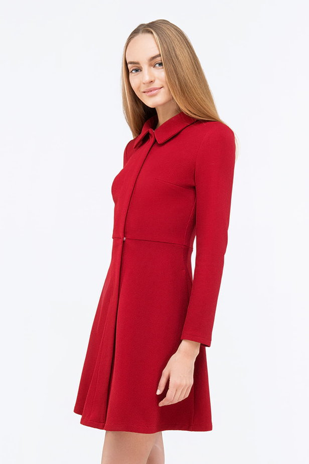 Red mini dress with a concealed placket photo 1 - MustHave online store