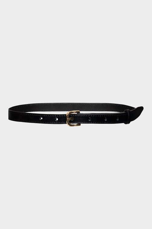 Black narrow leather belt with square metal buckle