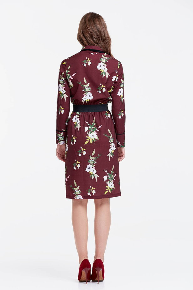Brown dress with a floral print and a black bow photo 3 - MustHave online store