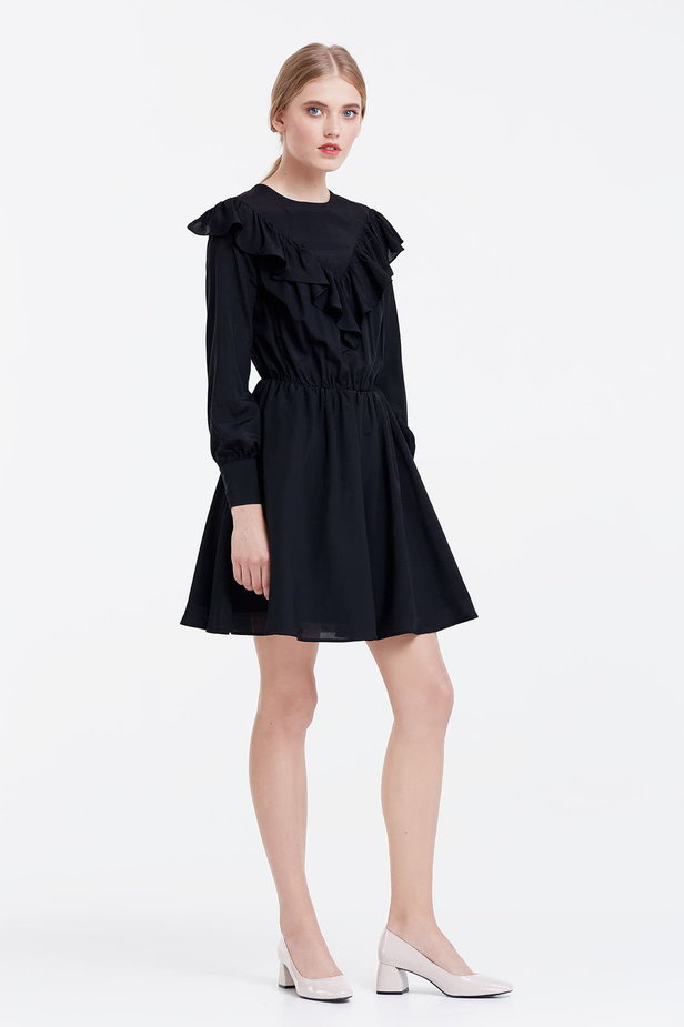 Mini black dress with ruffles photo 5 - MustHave online store