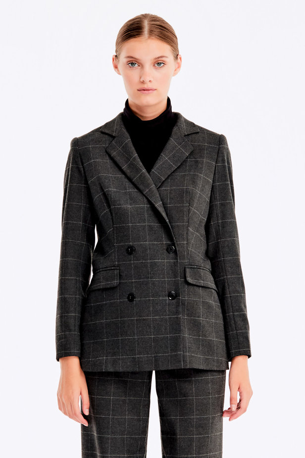 Double-breasted grey checkered jacket photo 1 - MustHave online store