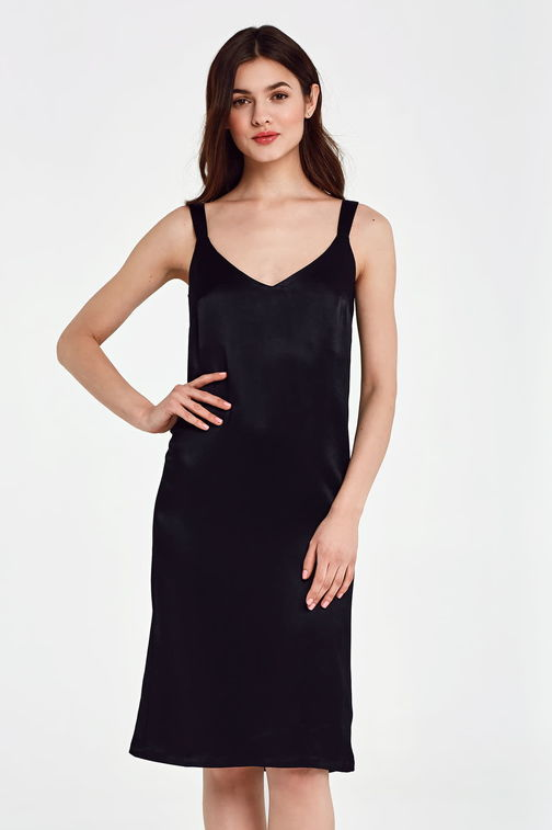 Black straight sundress with straps