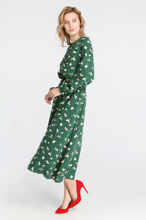 Green midi dress with flowers on the buttons