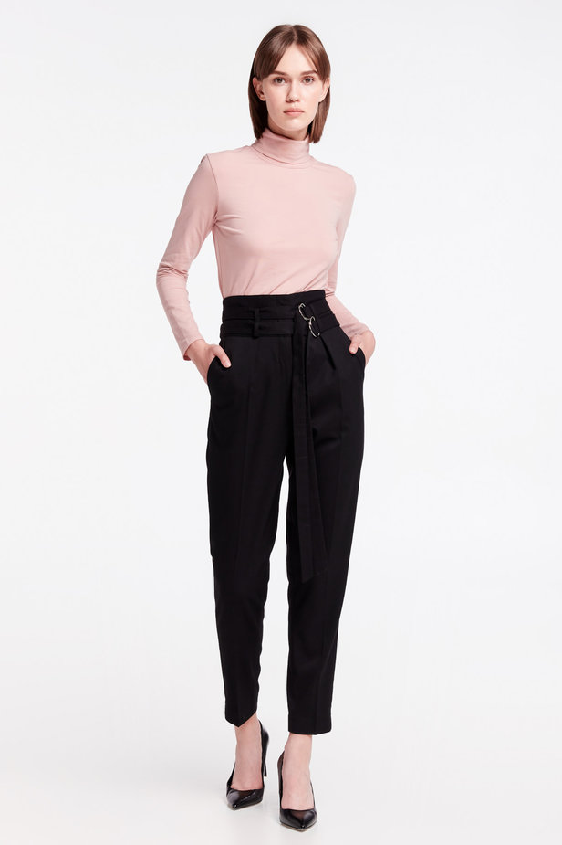 High-waisted black pants photo 3 - MustHave online store