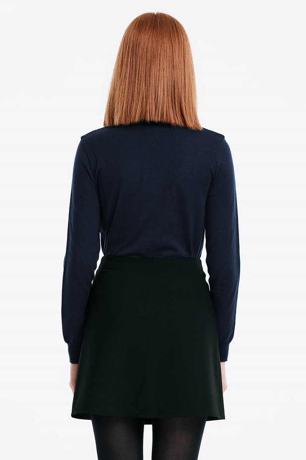 Dark blue polo neck with cotton photo 2 - MustHave online store
