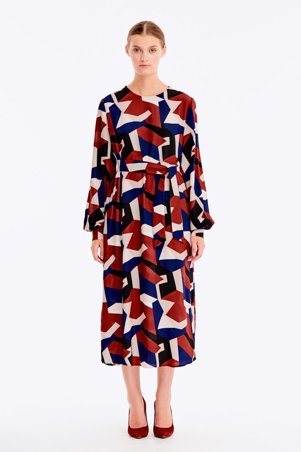 Free midi dress with variegated geometric print ¶¶ photo 3 - MustHave online store