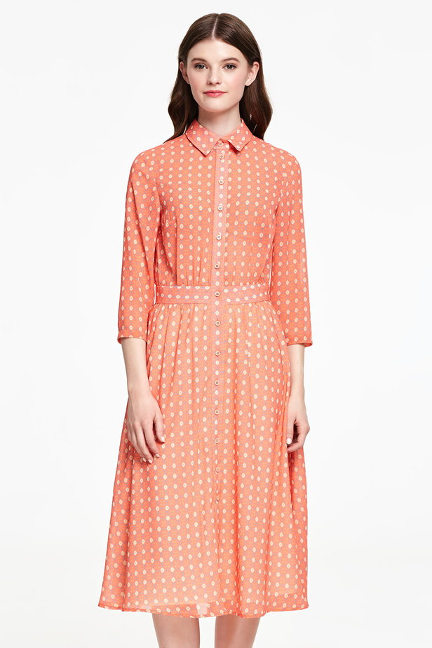 Orange shirt dress with rhombs photo 1 - MustHave online store
