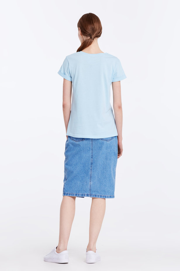 Blue T-shirt with cuffs photo 5 - MustHave online store