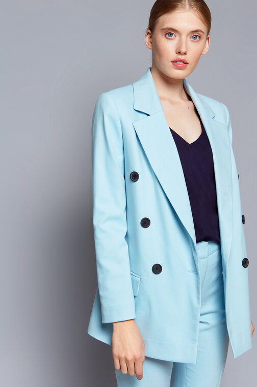 Light blue double-breasted blazer