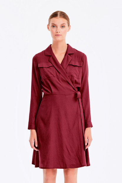 Wrap burgundy dress