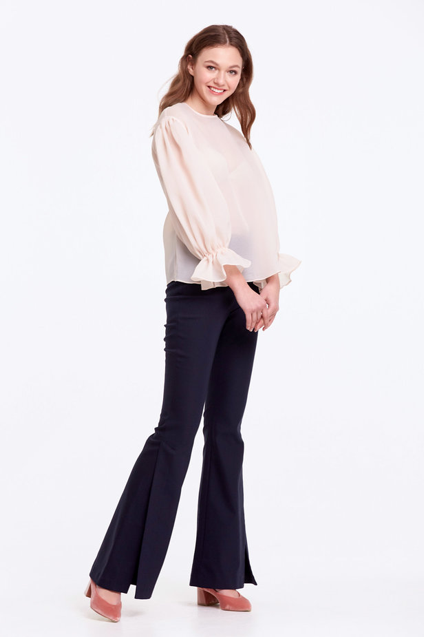 Beige organza blouse with balloon sleeves photo 7 - MustHave online store