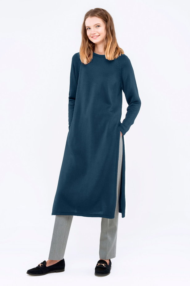 Blue tunic with slits photo 2 - MustHave online store