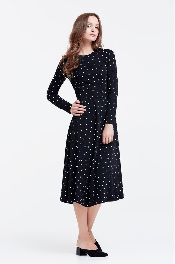 Midi black dress with a white polka dot print photo 5 - MustHave online store