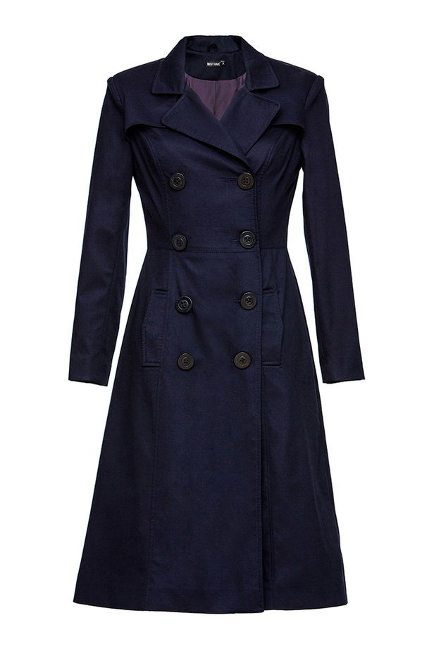 Double-breasted blue trenchcoat photo 5 - MustHave online store