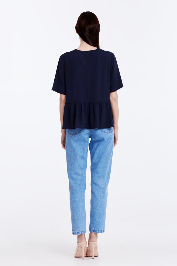Dark-blue top with a flounce photo 6 - MustHave online store