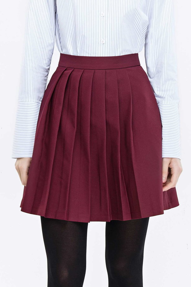 Plum skirt with pleats photo 1 - MustHave online store
