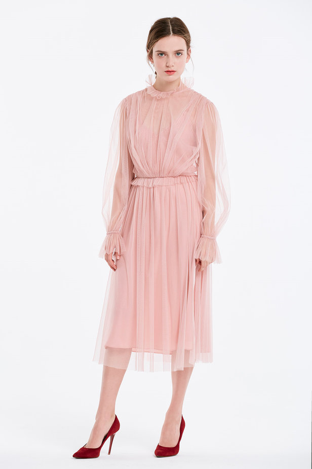 Below the knee powder pink dress with pleats photo 5 - MustHave online store
