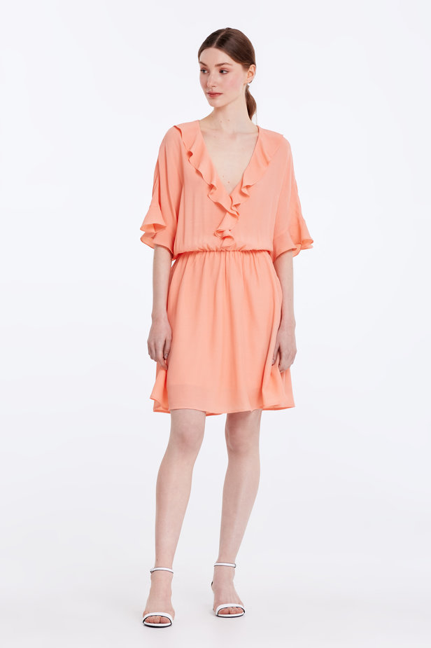 Peach-colored dress with ruffles photo 2 - MustHave online store