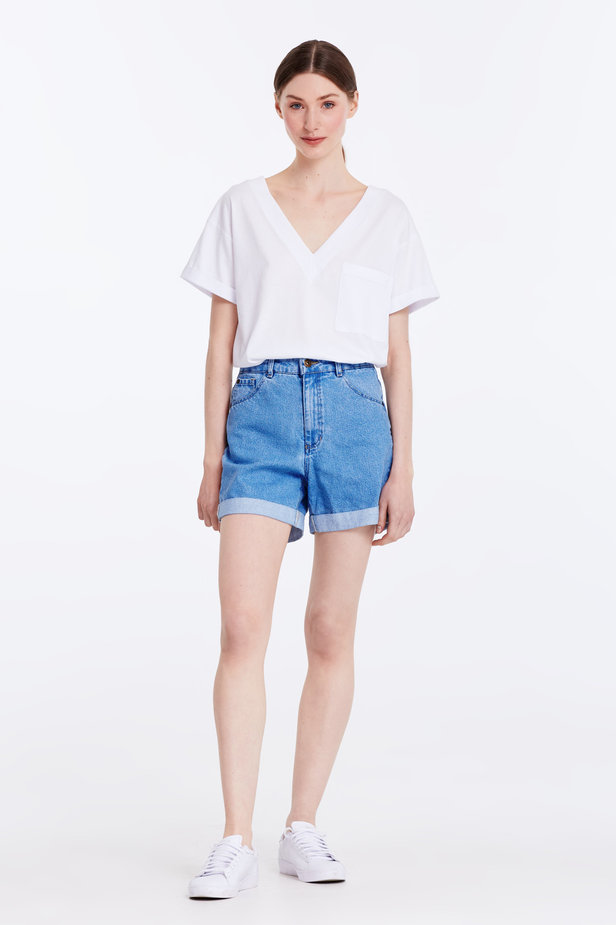 Blue denim shorts photo 2 - MustHave online store