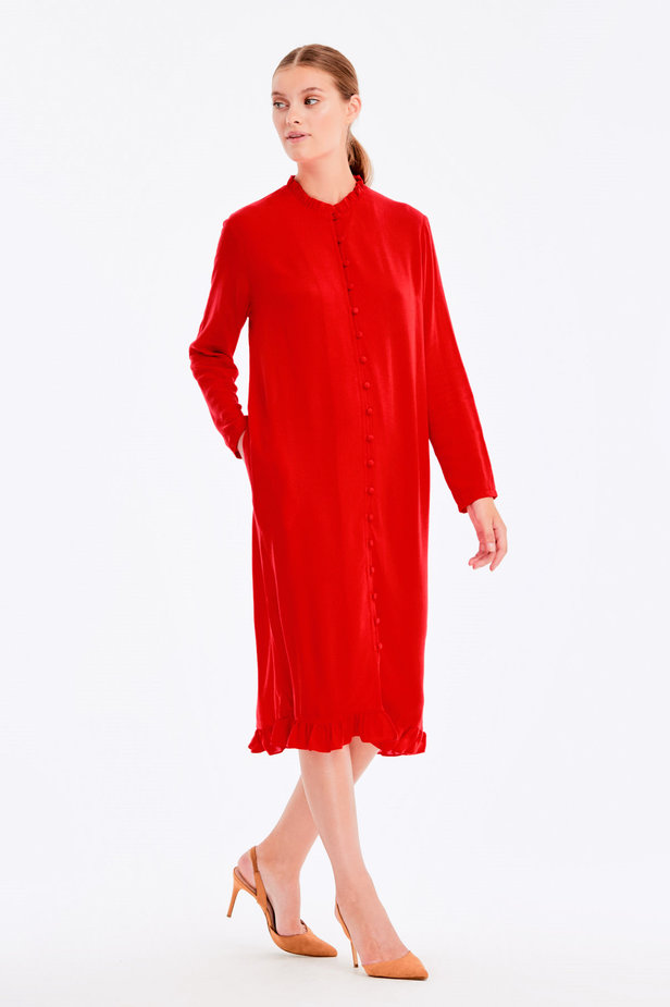 Red dress with ruffles and buttons photo 7 - MustHave online store