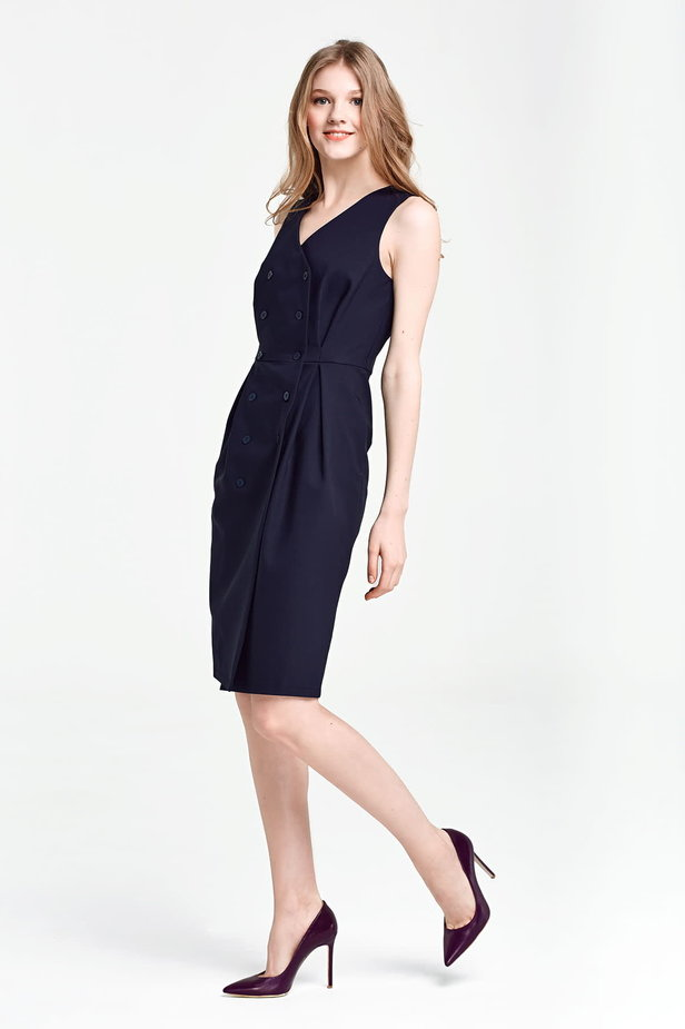 Dark blue column dress with buttons below the knee photo 2 - MustHave online store