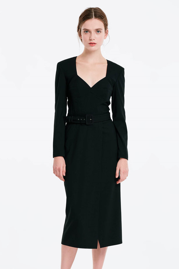 Wrap column black dress photo 1 - MustHave online store