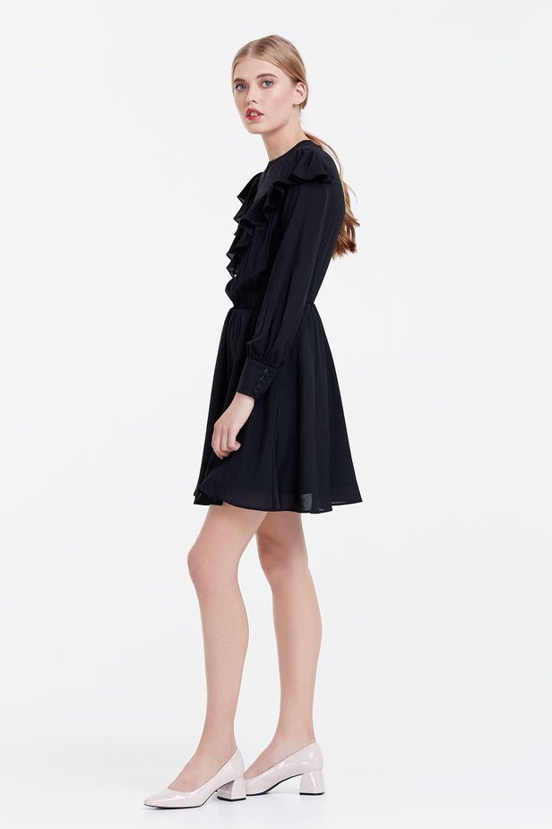 Mini black dress with ruffles photo 2 - MustHave online store