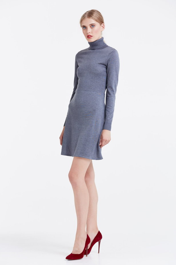 Grey knitted dress photo 3 - MustHave online store