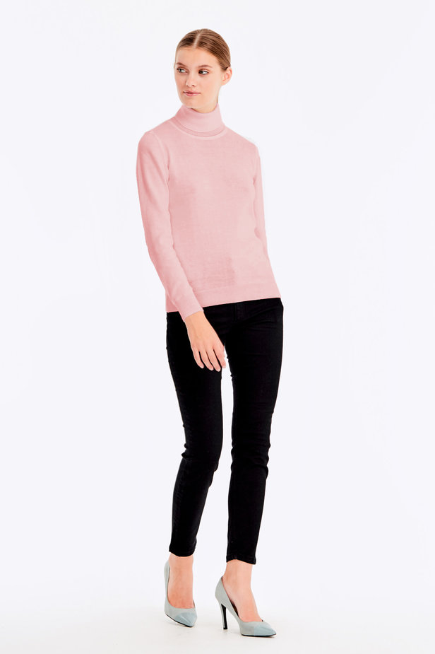 Powder pink polo neck with cotton photo 3 - MustHave online store